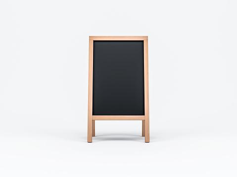 Wooden Menu Black Board Mockup, easel,  3d rendering