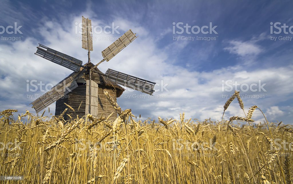 wooden mill stock photo