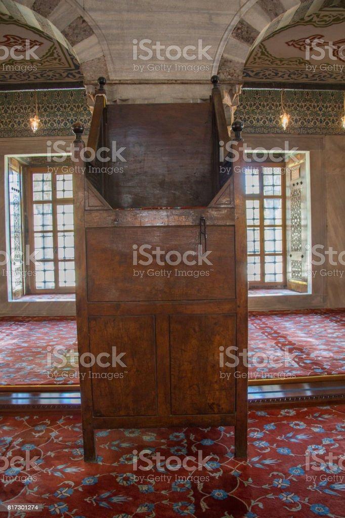 Wooden minbar, sermon pulpit of Ottoman times stock photo