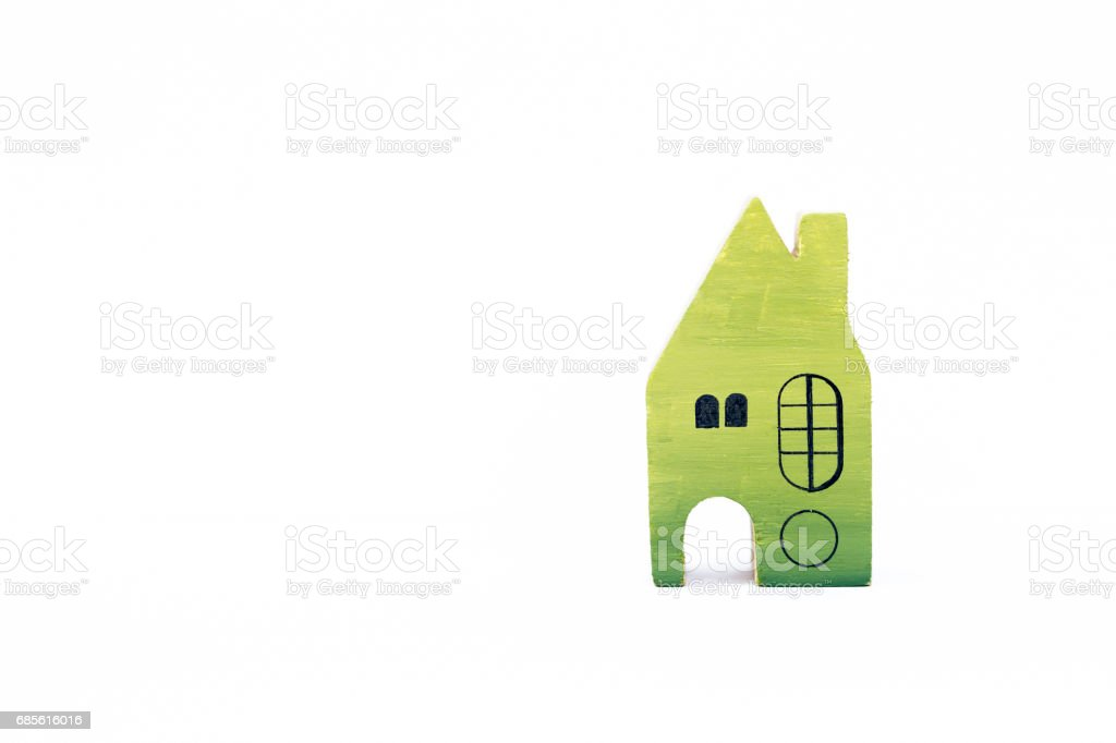 Wooden miniature house design on white background royalty-free 스톡 사진