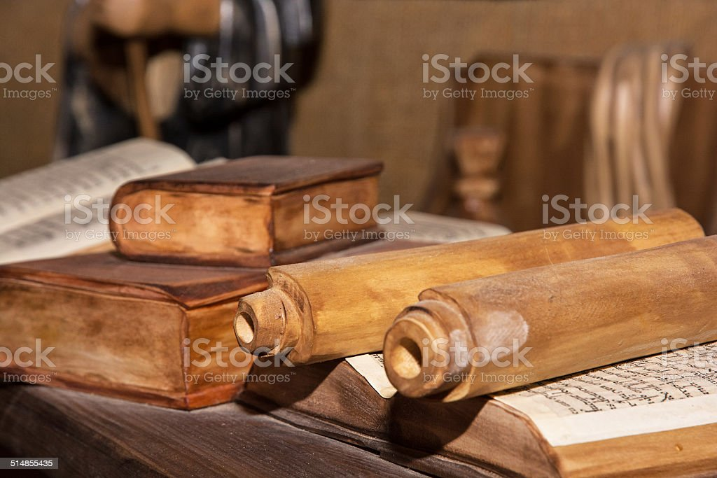 Wooden miniature of the monastic library stock photo