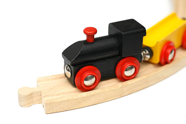 Wooden miniature train stock photo