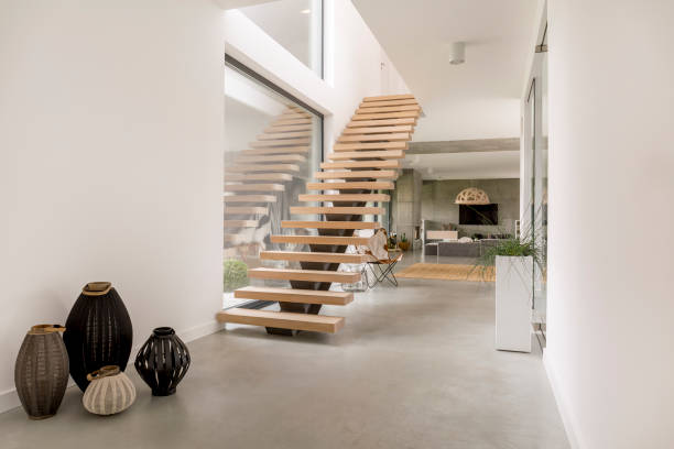 wooden minimalistic stairs - staircase stock photos and pictures