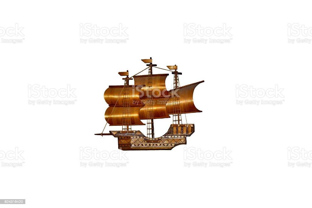wooden model sailboat stock photo