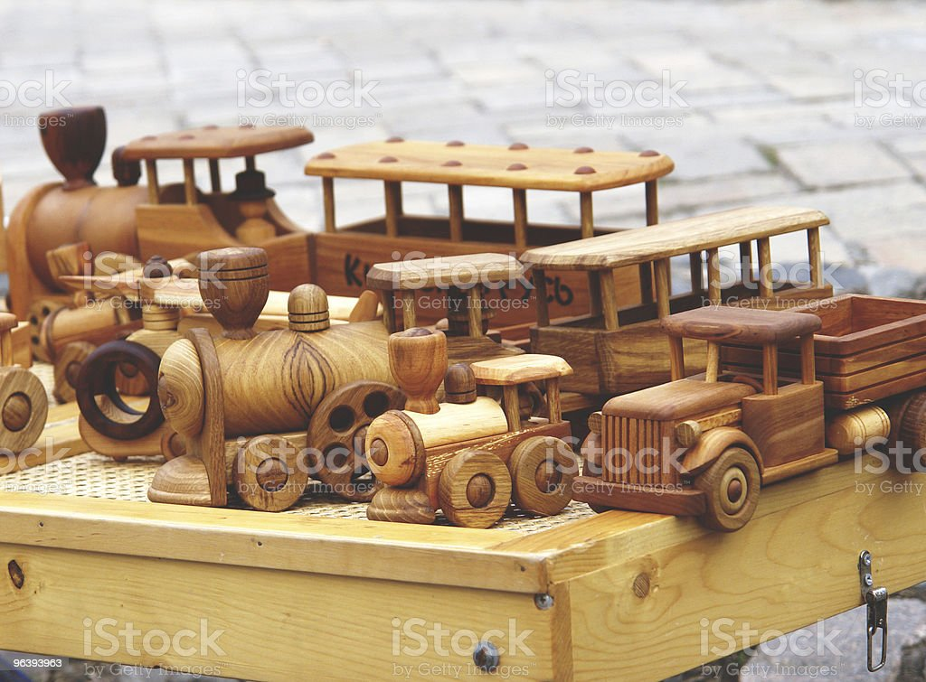 Wooden model trucks - Royalty-free Color Image Stock Photo