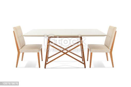 Wooden modern Table with chairs isolated on white background.