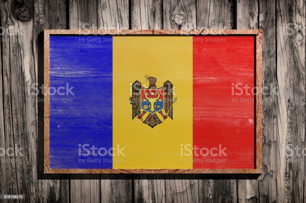 Wooden Moldova flag stock photo