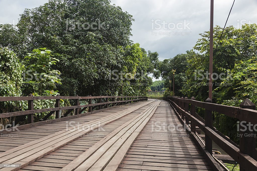 Wooden Mon bridge in Thailand royalty-free stock photo