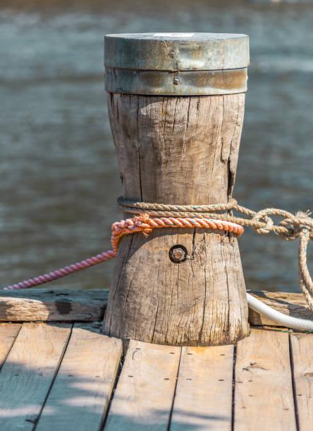 wooden mooring stock photo