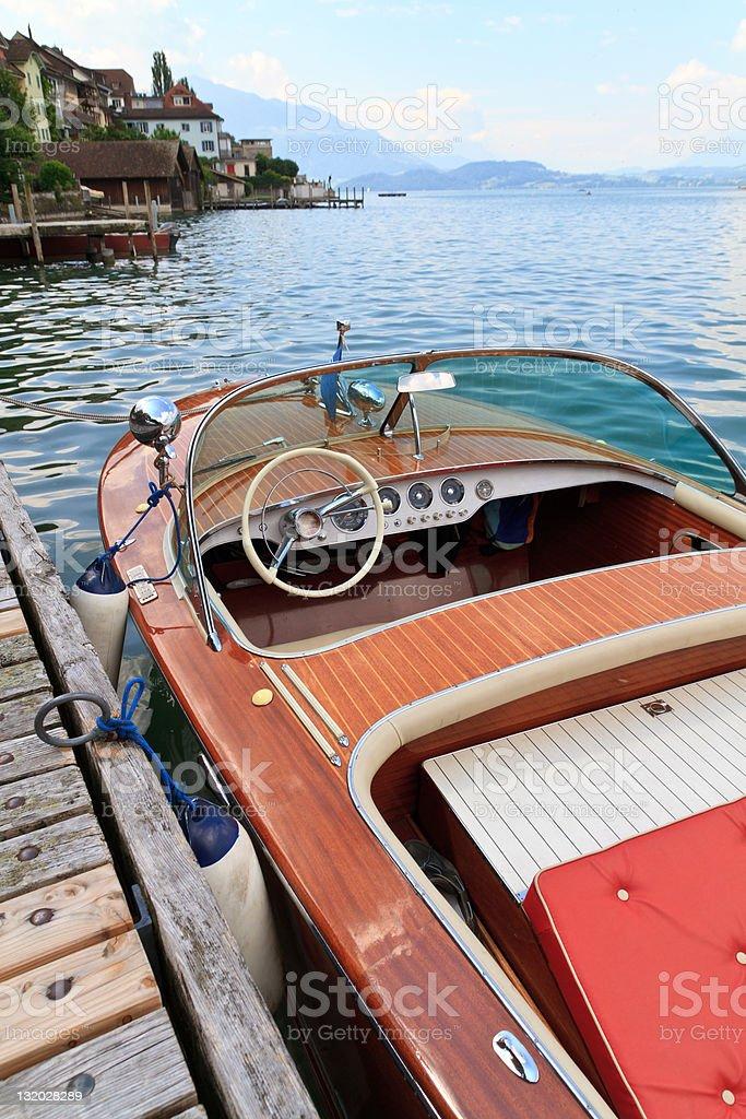 Wooden motor boat royalty-free stock photo