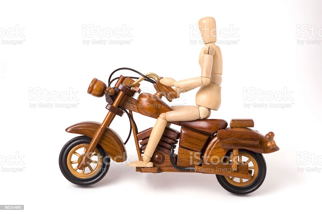 wooden motorcycle and rider royalty-free stock photo