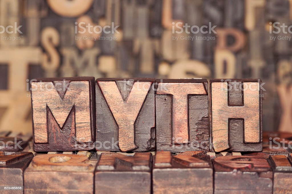 wooden MYTH concept stock photo