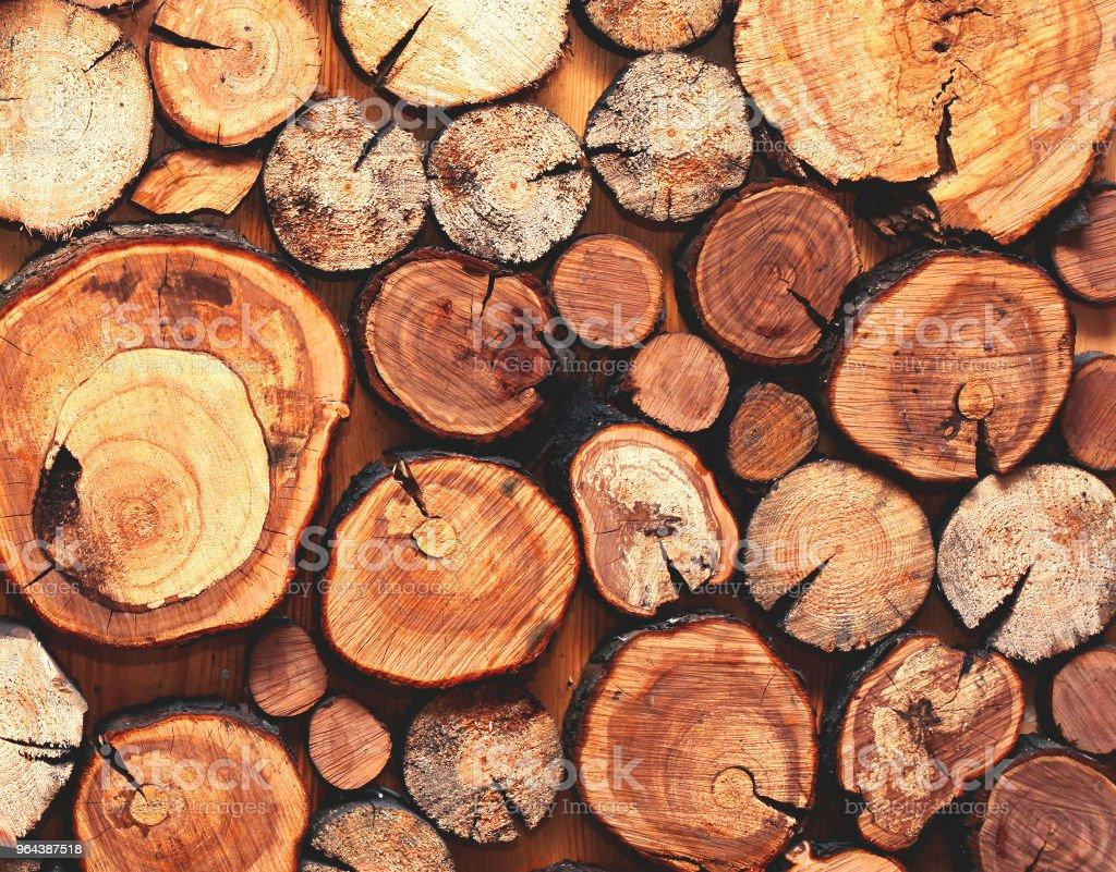 Natural de madeira serrada um closeup de registros, textura ou fundo, vista superior, foto plana leiga - Foto de stock de Antigo royalty-free