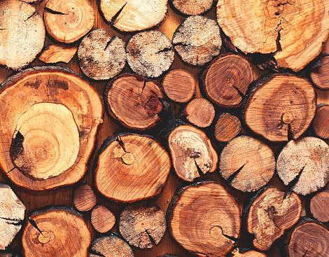 Foto de Natural De Madeira Serrada Um Closeup De Registros Textura Ou Fundo Vista Superior Foto Plana Leiga e mais fotos de stock de Antigo