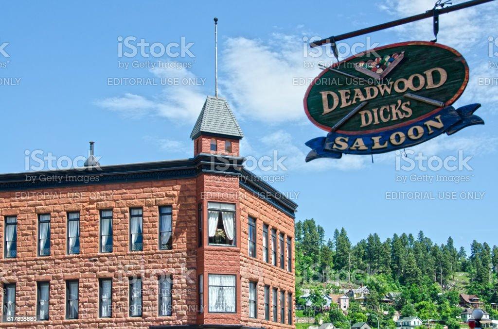 Wooden Nickel and Deadwood Dicks Saloon stock photo