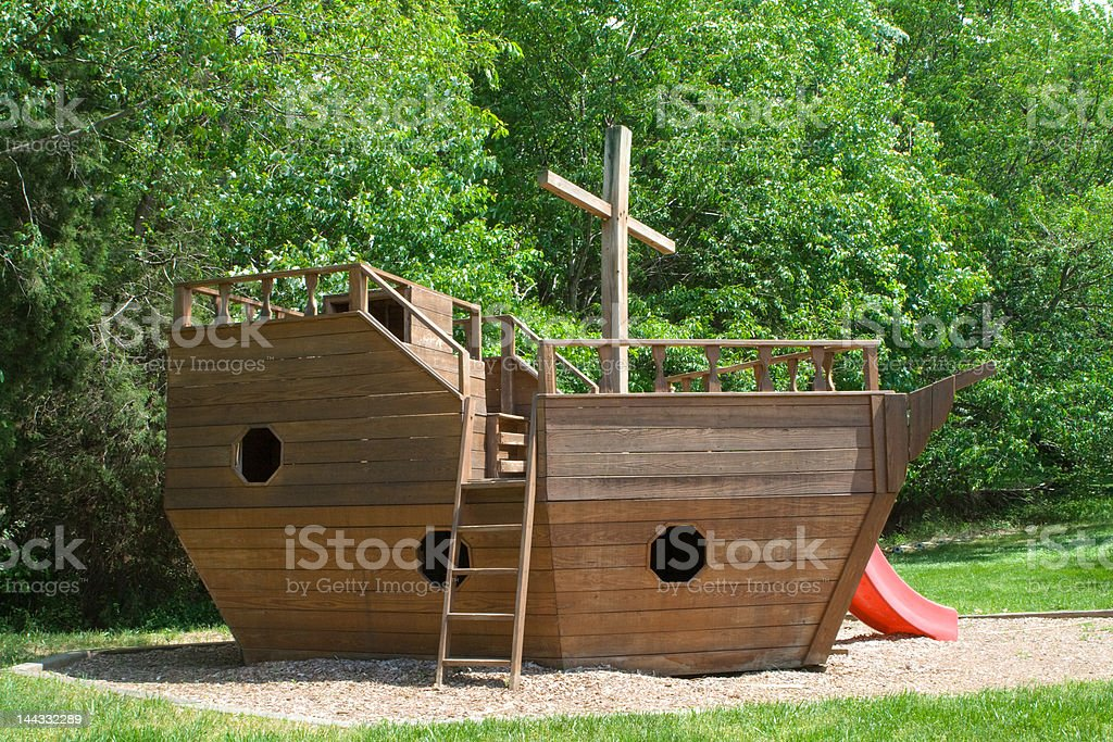 Wooden Noah's Ark Playground Equipment royalty-free stock photo
