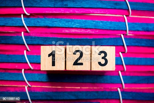 istock Wooden number one two three 901588140