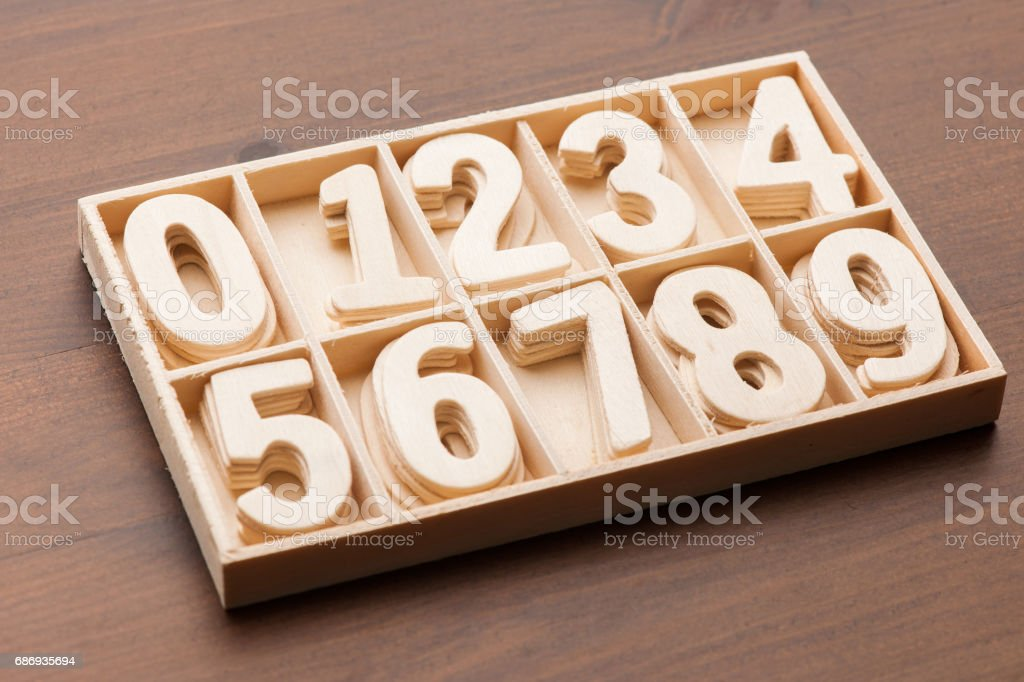 Wooden Number stock photo