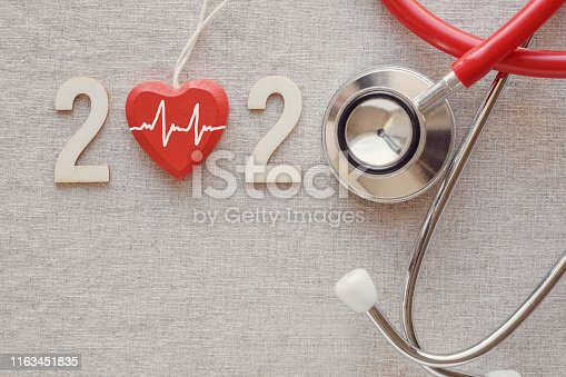 istock 2020 wooden number with red stethoscope. Happy New Year for heart health and medical concept, life insurance business 1163451835