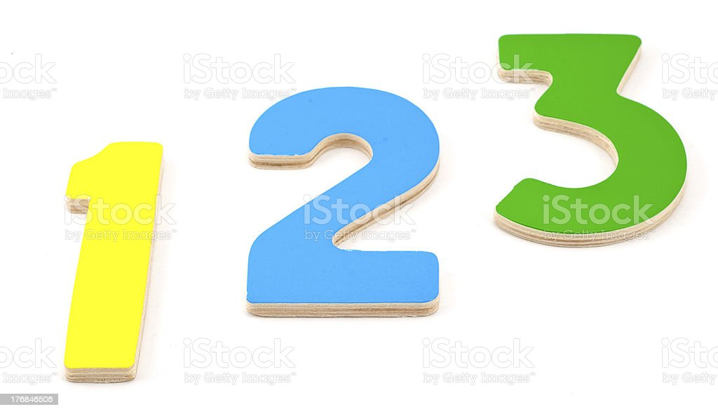 Wooden numbers 1 2 3 royalty-free stock photo