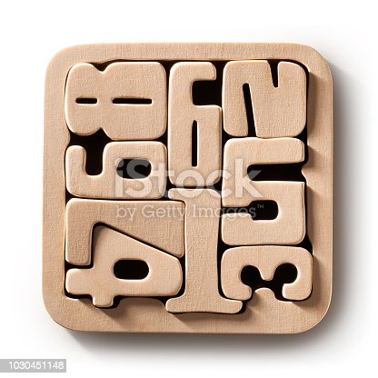 istock Wooden numbers on white blackground. Photo with clipping path. 1030451148