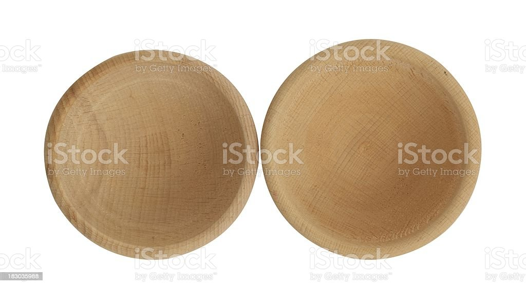 Wooden nut bowl (isolated with clipping path over white background) royalty-free stock photo