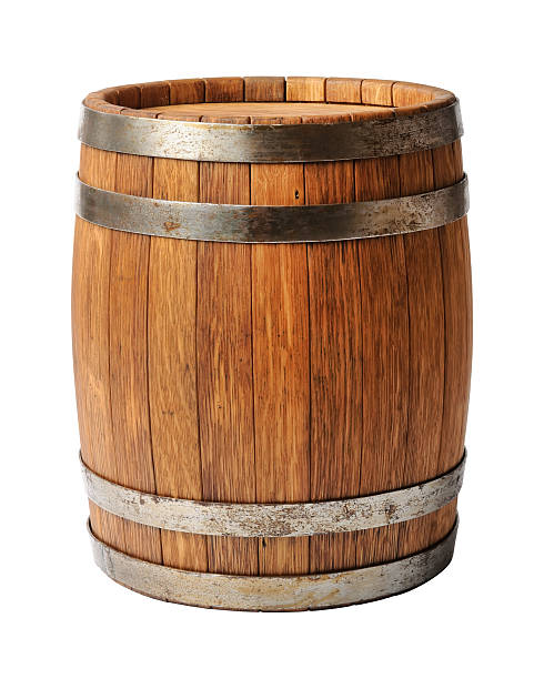 wooden oak barrel isolated on white background - barrel stock pictures, royalty-free photos & images