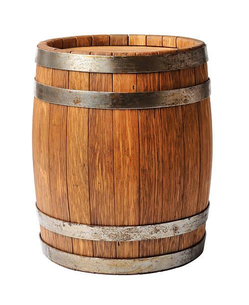 Wooden oak barrel isolated on white background stock photo