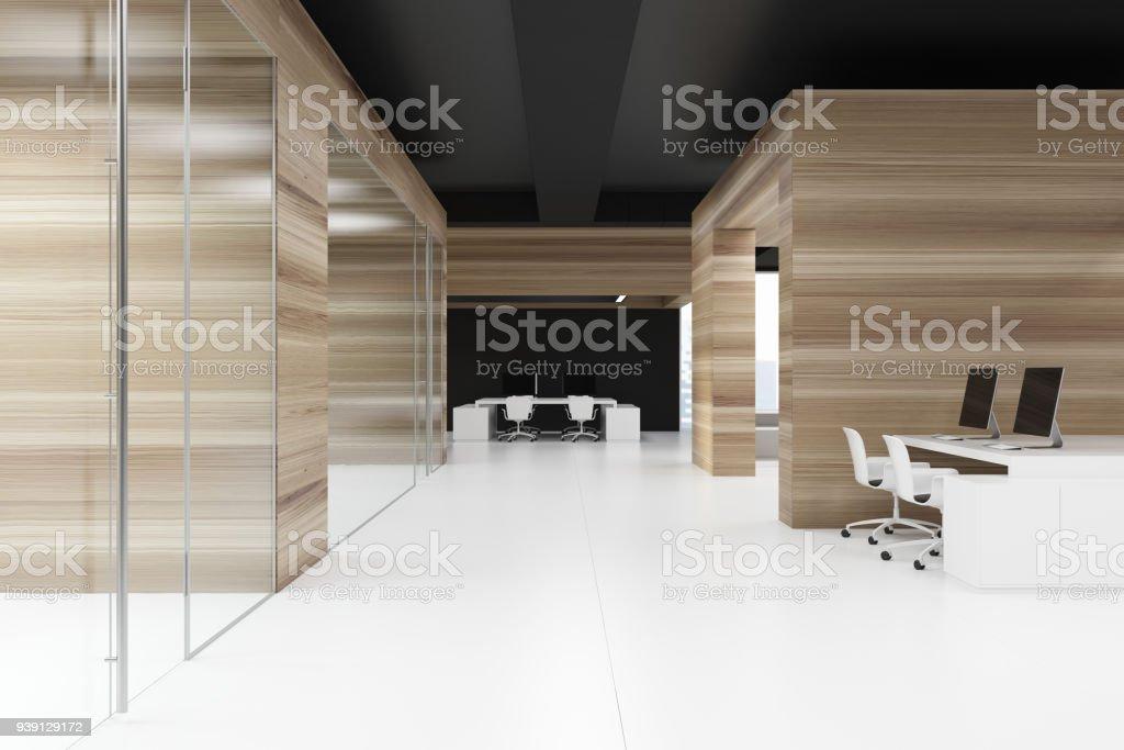 Couloir de bureau en bois avec un plafond noir u2013 photos et plus d