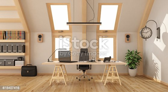 istock Wooden office in the attic 615407416
