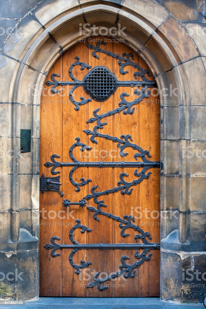 Wooden old door closed stock photo