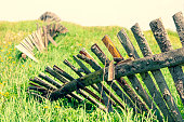 istock Wooden old fence in the summer field 1248480431