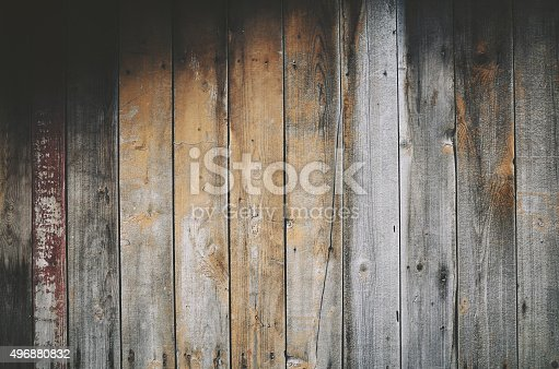 Old wooden gray beige plank texture background wall, full frame