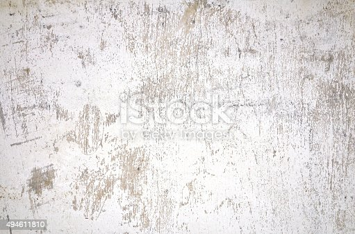 Old white wooden painted dirty wall, weathered grunge texture background, full frame