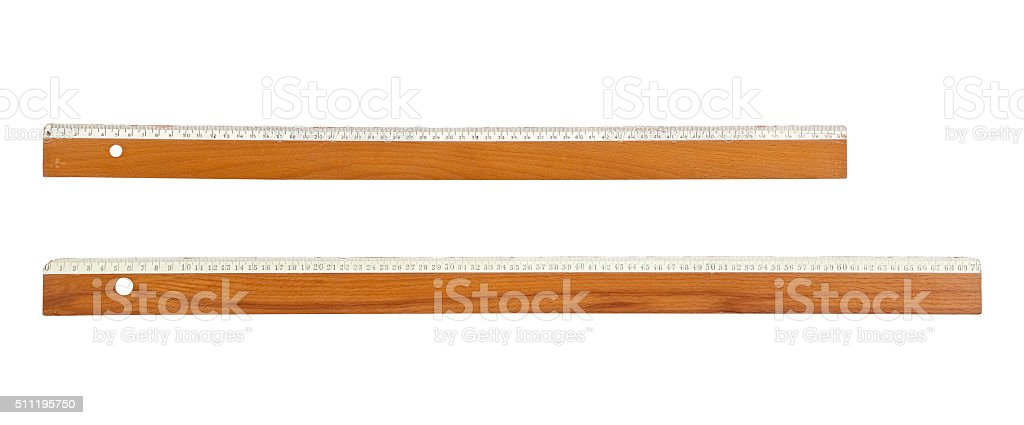 Wooden old rules stock photo