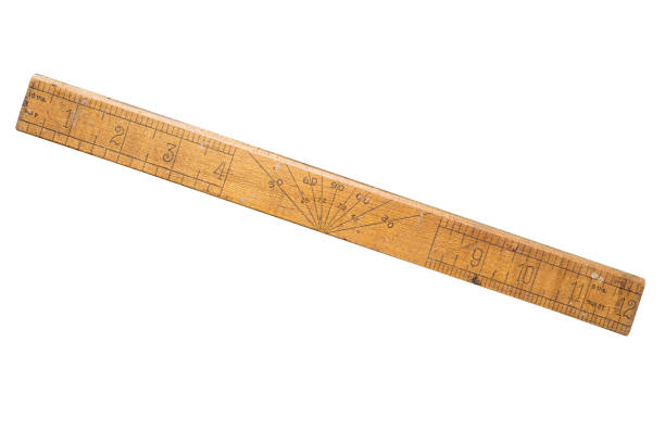 wooden old school ruler, inches. isolated on white. - ruler stock photos and pictures