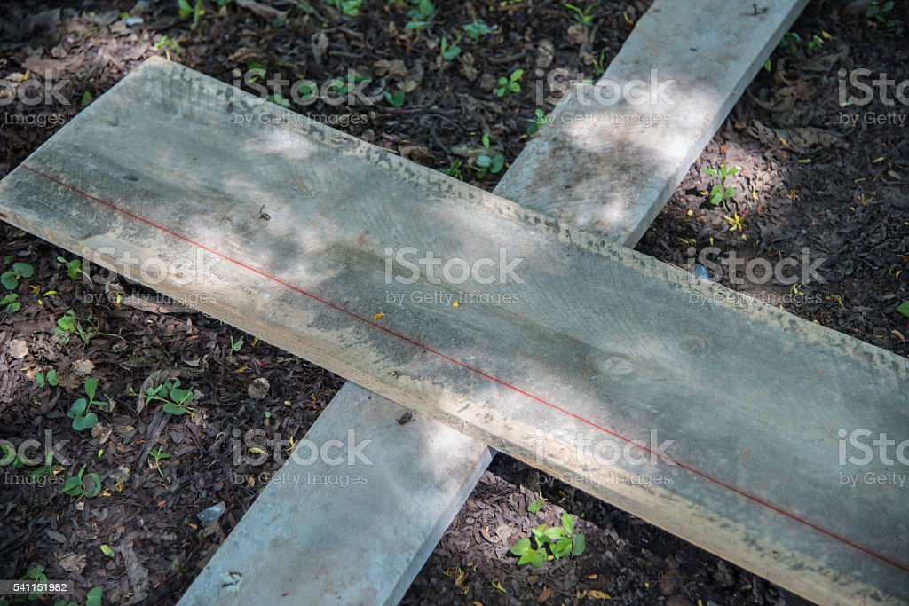 Wooden on ground for construction site stock photo