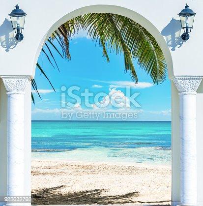 istock wooden open door arch exit to the beach caribbean dominican republic 922632762