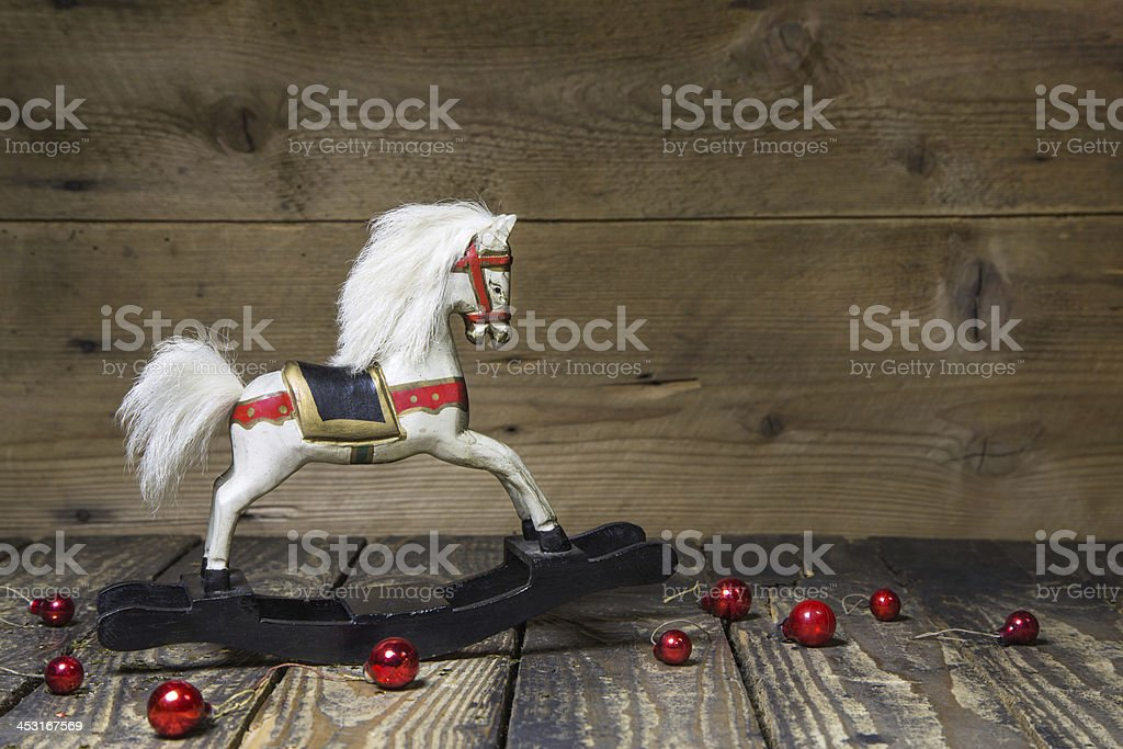 Wooden or rocking horse for christmas stock photo