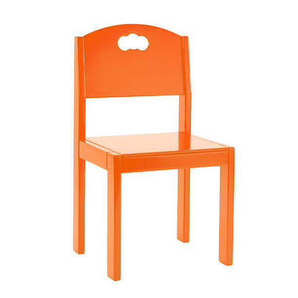 Wooden orange chair for children isolated on white background – Foto