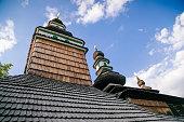 Wooden Orthodox Church of St. Archangel Michael at Kinsky Garden at Petril hill in Prague, Czech Republic, June 12, 2020