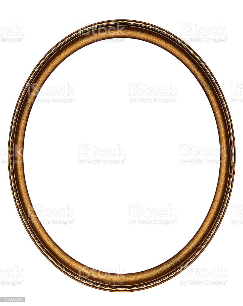 Wooden oval frame stock photo