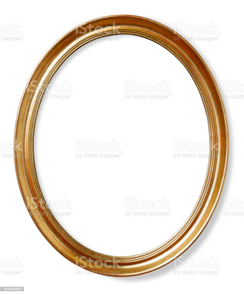 Wooden oval picture frame stock photo