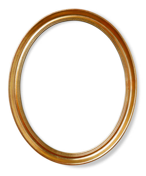 wooden oval picture frame - ellipse stock photos and pictures
