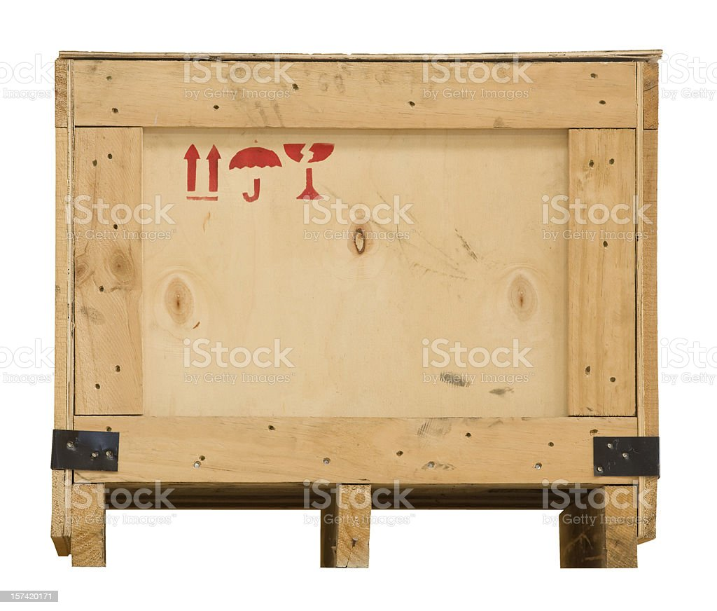 Wooden packaging crate on a pallet with clipping path. stock photo