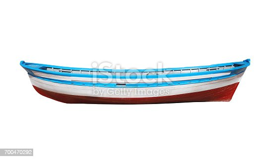 Wooden painted boat isolated on a white background