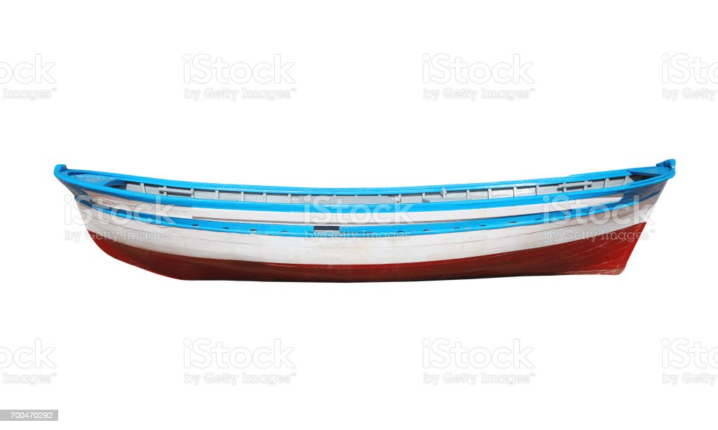 Wooden painted boat isolated on a white background stock photo