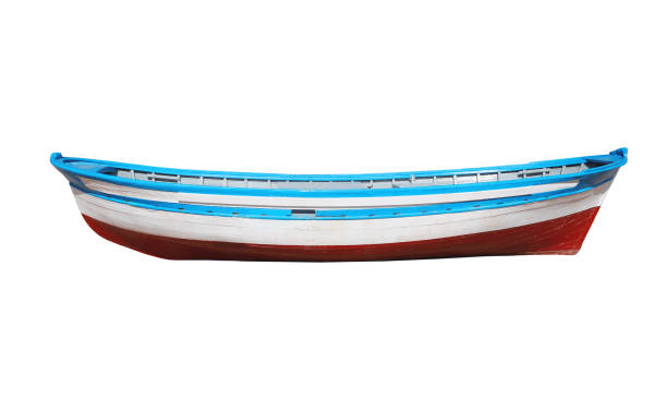 wooden painted boat isolated on a white background - vintage nautical stock photos and pictures