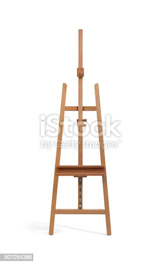 istock Wooden painter easel isolated on white 507254386
