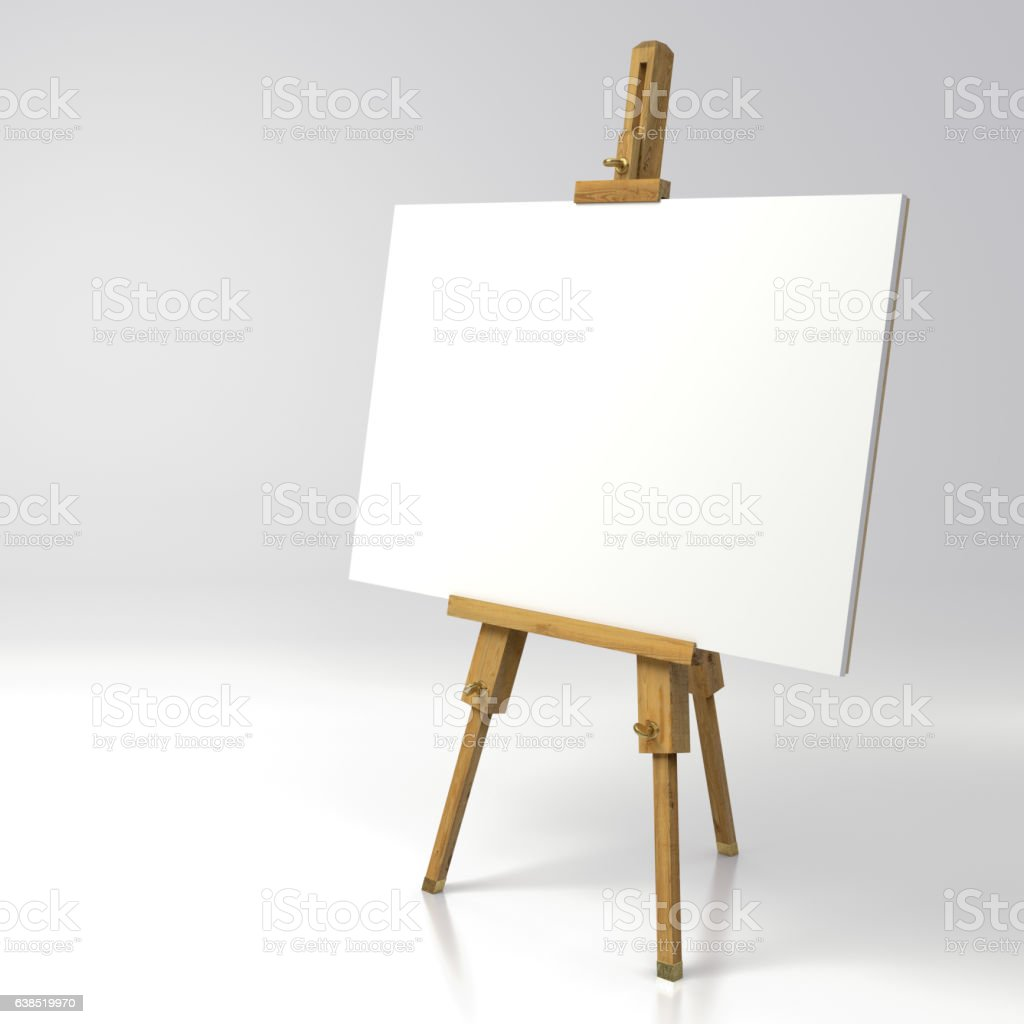 Wooden painter easel stock photo
